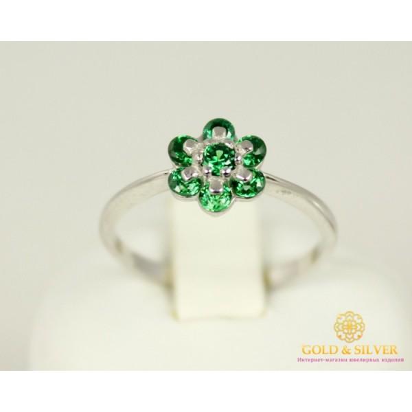 Серебряное кольцо 925 проба. Женское серебряное Кольцо Цветок Зеленый 320940с , Gold & Silver Gold & Silver, Украина