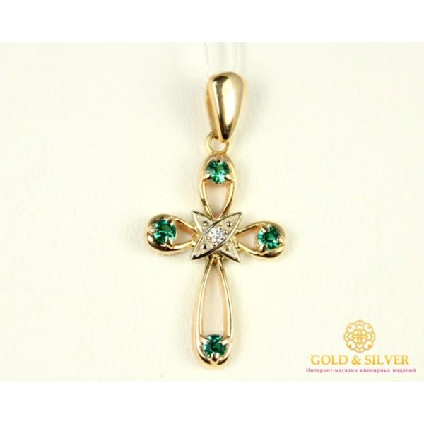Золотой крест 585 проба. Крестик с красного золота, вставка Бриллиант Изумруд 30072 , Gold & Silver Gold & Silver, Украина
