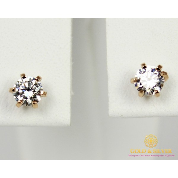 Золотые Серьги 585 проба. Женские серьги с красного золота, Пуссеты Swarovski (Сваровски) сп020(s)и , Gold & Silver Gold & Silver, Украина