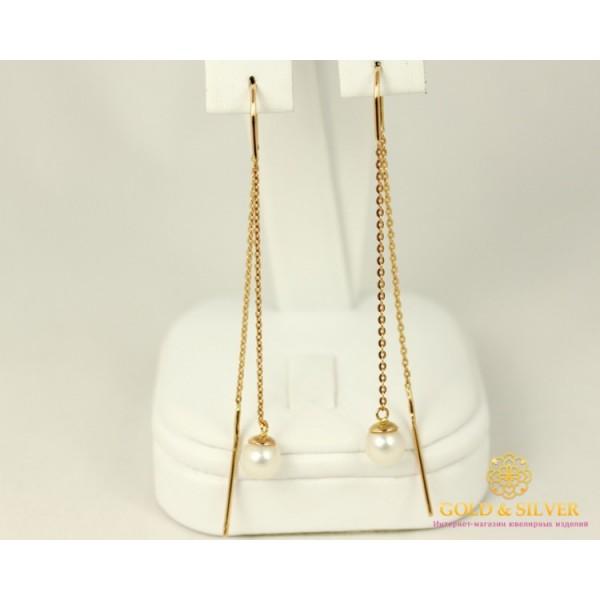 Золотые Серьги 585 проба. Женские серьги с красного золота Протяжки Жемчуг 580035 , Gold &amp Silver Gold & Silver, Украина