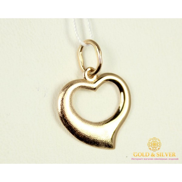 Золотой кулон 585 проба. Подвес Сердце с красного золота, 0,45 грамма 100302 , Gold & Silver Gold & Silver, Украина
