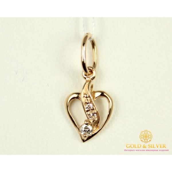 Золотой Кулон 585 проба. Подвес с красного золота, с вставкой кубический цирконий. Сердце 150019 0,55 грамма , Gold &amp Silver Gold & Silver, Украина