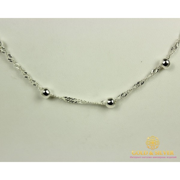 Серебряная Цепь 925 проба. Цепь серебряная плетение Сингапур Шарики 55 сантиметров 27035ш , Gold & Silver Gold & Silver, Украина