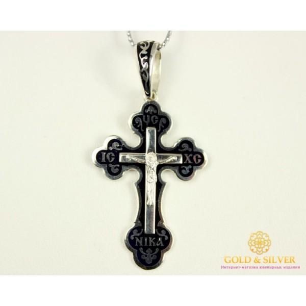 Серебряный Крест Черная Эмаль 118 , Gold & Silver Gold & Silver, Украина