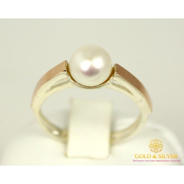 Серебряное кольцо 925 проба. Женское Кольцо с вставкой жемчуга и золота 375 пробы. 012310 , Gold & Silver Gold & Silver, Украина