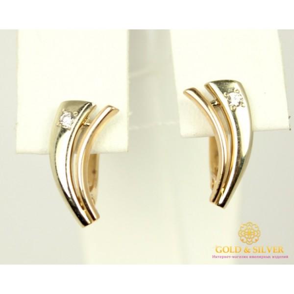 Золотые Серьги 585 проба. Женские серьги с красного и белого золота, с вставкой Бриллиант 0,05 карат. 21090 , Gold & Silver Gold & Silver, Украина