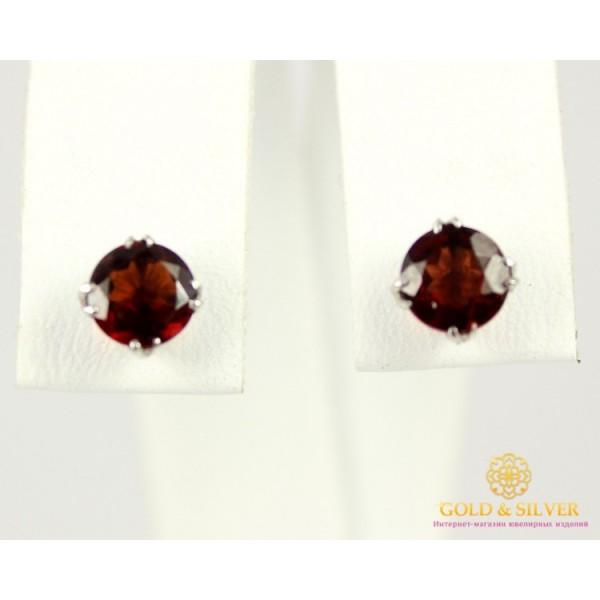 Золотые Серьги 585 проба. Женские серьги с белого золота, Гвоздики, с вставкой Гранат 22311 , Gold & Silver Gold & Silver, Украина