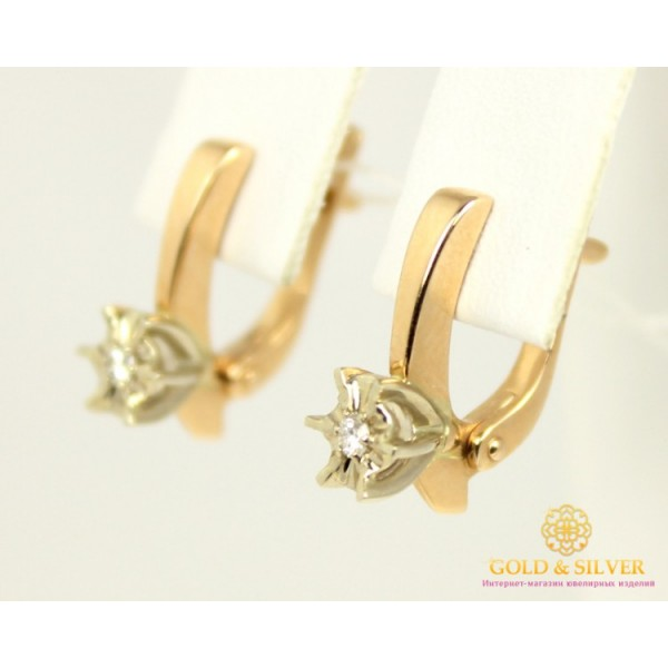 Золотые Серьги 585 проба. Женские серьги с красного и белого золота, с вставкой Бриллиант 0,07 карат. 24150 , Gold &amp Silver Gold & Silver, Украина