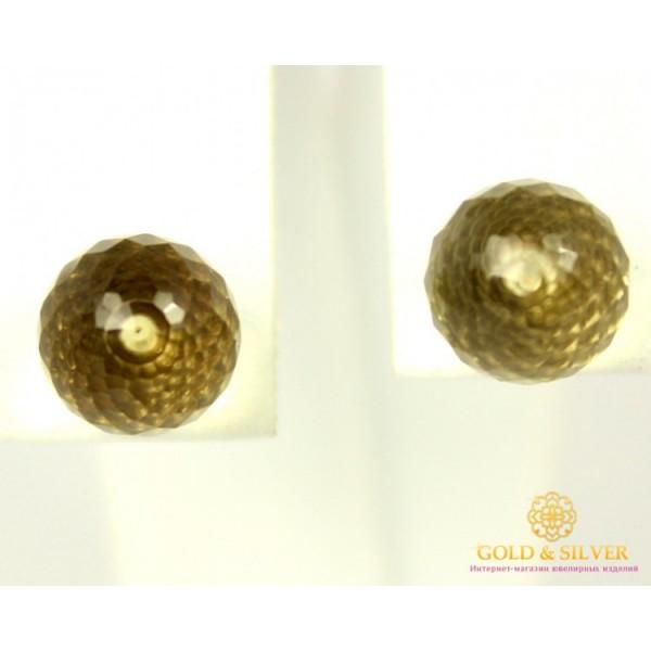 Золотые Серьги 585 проба. Женские серьги с красного золота,  Пуссеты (Гвоздики) Лимонный Кварц 588036 , Gold &amp Silver Gold & Silver, Украина