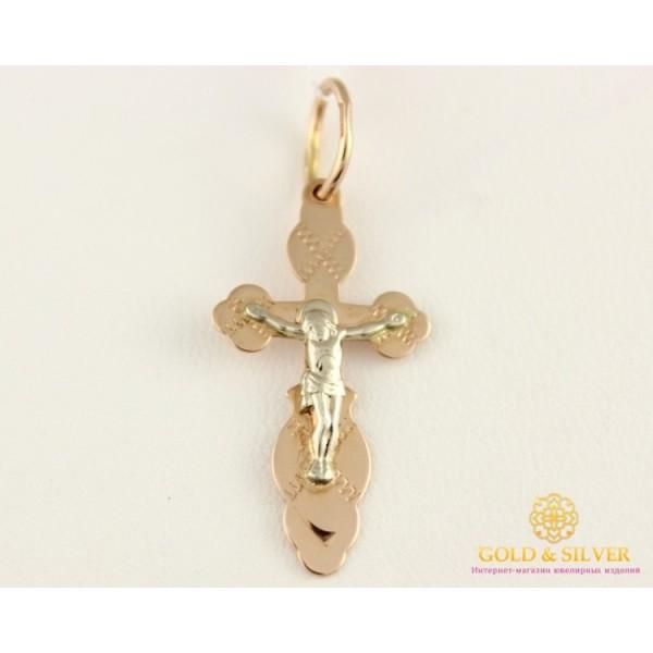 Золотой крест 585 проба. Крестик с красного и белого золота 0,88 грамма 230113 , Gold & Silver Gold & Silver, Украина