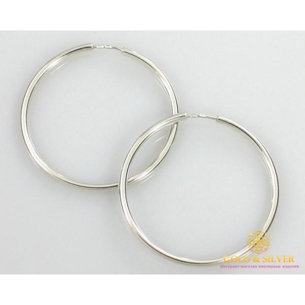 Серебряные Серьги 925 проба. Женские серебряные серьги без вставок кольца (конго) 48 мм. 6,9 грамма 2504 , Gold & Silver Gold & Silver, Украина