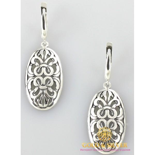 Серебряные Серьги 925 проба. Женские серебряные серьги без вставок Шахерезада 2295 , Gold & Silver Gold & Silver, Украина