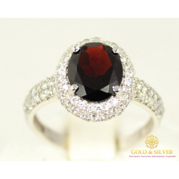 Серебряное кольцо 925 проба. Женское Кольцо Диво Гранат овал, белые камни 15929р , Gold & Silver Gold & Silver, Украина