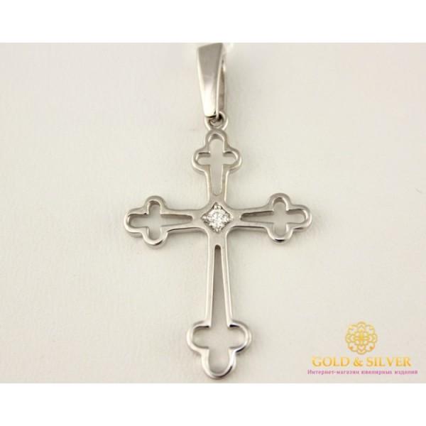 Золотой Крест 585 проба. Крест женский с белого золота, с вставкой бриллиант. 1,66 грамма 35839 , Gold & Silver Gold & Silver, Украина