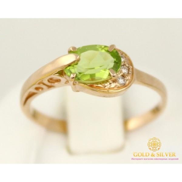 Золотое Кольцо 585 проба. Женское кольцо с красного золота с вставкой Хризолит 1,85 грамма 11535 , Gold & Silver Gold & Silver, Украина