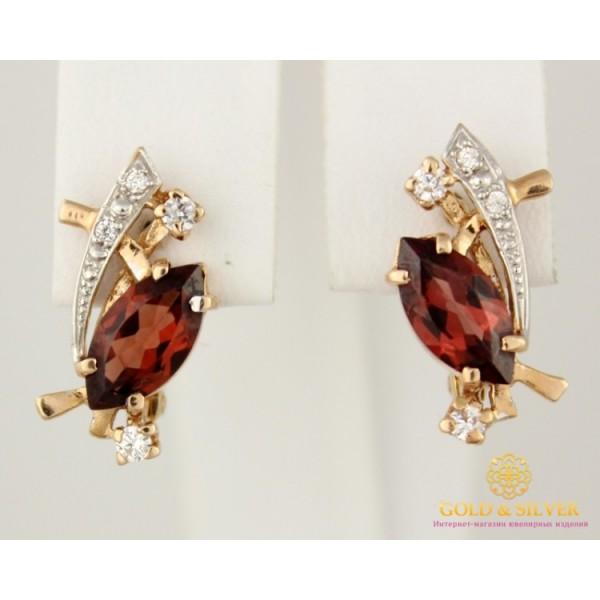 Золотые Серьги 585 проба. Женские серьги с красного золота, вставка Гранат 3,49 грамма 12531 , Gold &amp Silver Gold & Silver, Украина