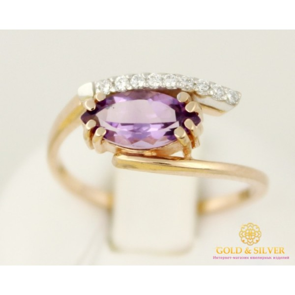 Золотое кольцо 585 проба. Женское Кольцо с красного золота, с вставкой Аметист 2,43 грамма 11782 , Gold &amp Silver Gold & Silver, Украина