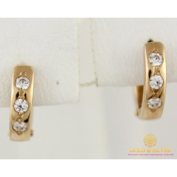 Золотые Серьги 585 проба. Женские серьги с красного золота, конго мини широкие 2 грамма св024и , Gold & Silver Gold & Silver, Украина