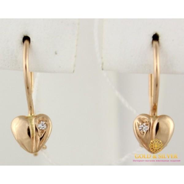 Золотые Серьги 585 проба. Женские серьги с красного золота, Сердечки 1,09 грамма 470710 , Gold &amp Silver Gold & Silver, Украина