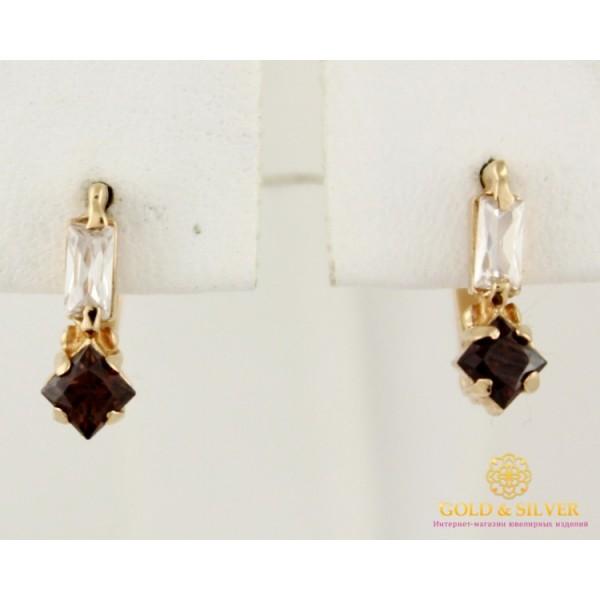 Золотые Серьги 585 проба. Женские серьги с красного золота, с вставкой коричневый камень 1,6 грамма св004811 , Gold & Silver Gold & Silver, Украина
