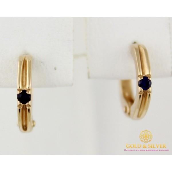 Золотые Серьги 585 проба. Женские серьги с красного золота, с синим камушком 2,46 грамма св0232и , Gold & Silver Gold & Silver, Украина