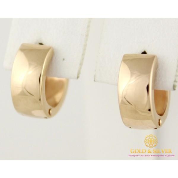 Золотые Серьги 585 проба. Женские серьги с красного золота, Конго мини широкие без вставок 1,52 грамма 470327 , Gold & Silver Gold & Silver, Украина