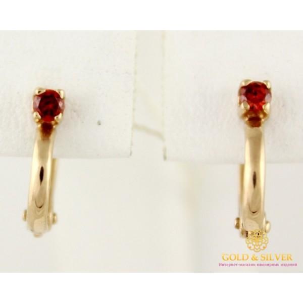Золотые Серьги 585 проба. Женские серьги с красного золота, с красным камушком 1,91 грамма св0113и , Gold & Silver Gold & Silver, Украина