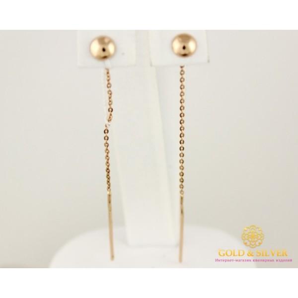Золотые Серьги 585 проба. Женские серьги с красного золота, Протяжки Круглые 0,79 грамма 580044 , Gold & Silver Gold & Silver, Украина