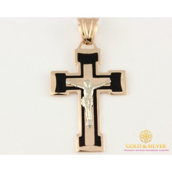 Золотой Крест 585 проба. Крест красное золото с черной эмалью 4,57 грамма 210101е , Gold & Silver Gold & Silver, Украина