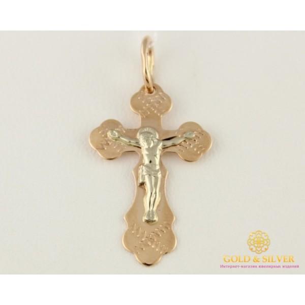 Золотой крест 585 проба. Крестик детский красное и белое золото 0,83 грамма 230120 , Gold & Silver Gold & Silver, Украина