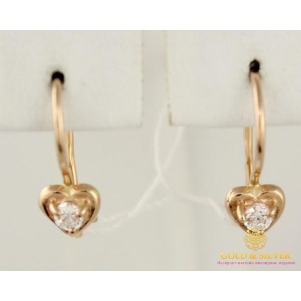 Золотые серьги 585 проба. Детские Серьги сердечки с красного золота 1,04 грамма 470714 , Gold &amp Silver Gold & Silver, Украина