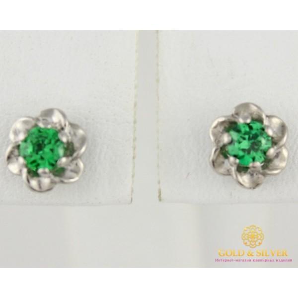 Серебряные Серьги 925 проба. Женские серебряные серьги зеленый камень 1,5 грамма 520249с , Gold & Silver Gold & Silver, Украина