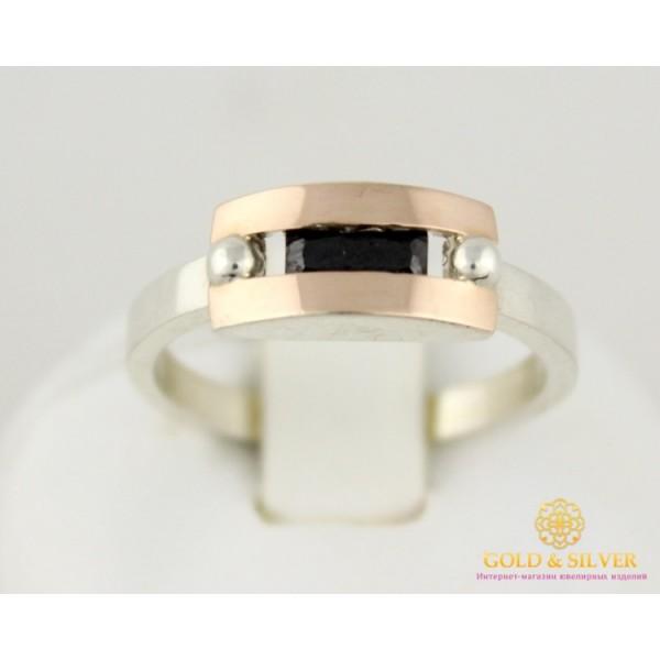 Серебряное кольцо 925 проба. Женское кольцо с вставками золота 375 пробы. 082 , Gold & Silver Gold & Silver, Украина