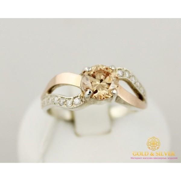 Серебряное кольцо 925 проба. Серебряное женское кольцо с вставками золота 375 пробы. 001510 , Gold & Silver Gold & Silver, Украина