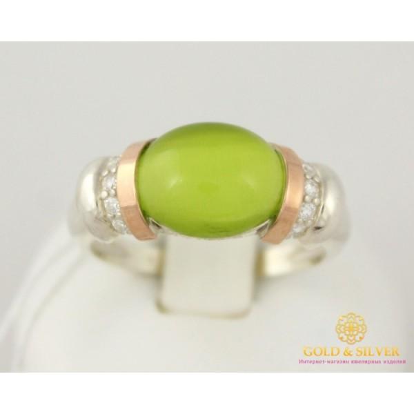 Серебряное кольцо 925 проба. Женское кольцо Улексит с вставкой золота 375 пробы. 19 размер 003020 , Gold &amp Silver Gold & Silver, Украина