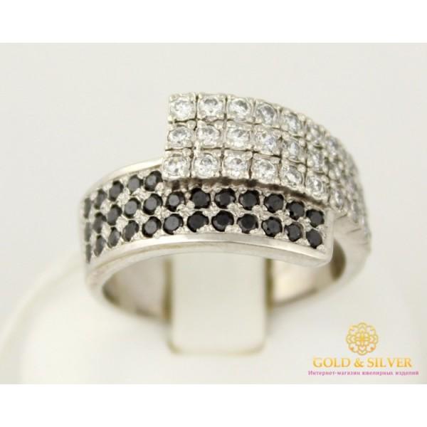 Серебряное кольцо 925 проба. Женское кольцо Сияние с вставкой черных и белых камней. 1093р 19 размер , Gold & Silver Gold & Silver, Украина