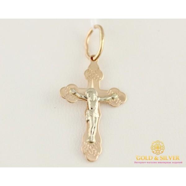 Золотой Крест 585 проба. Детский крестик красное и белое золото 230012 , Gold & Silver Gold & Silver, Украина