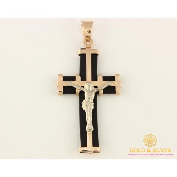 Золотой Крест 585 проба. Крест с красного и белого золота, с каучуком. 940011 , Gold & Silver Gold & Silver, Украина
