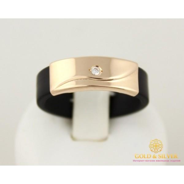 Золотое Кольцо 585 проба. Каучуковое кольцо с красного золота с вставкой фианита. 900621 , Gold &amp Silver Gold & Silver, Украина