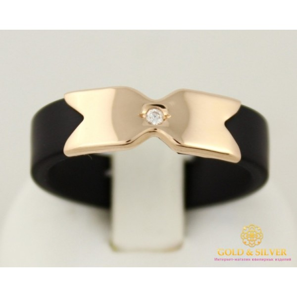 Золотое кольцо 585 проба. Каучуковое кольцо с красного золото и вставкой фианита. 900623 , Gold & Silver Gold & Silver, Украина
