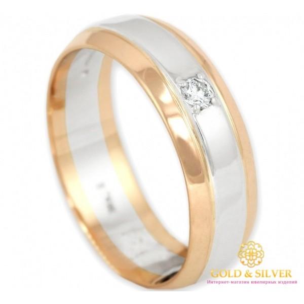 Золотое кольцо 585 проба. Классическое обручальное кольцо с красного и белого золота с бриллиантом. 12730 , Gold &amp Silver Gold & Silver, Украина
