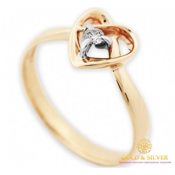 Золотое кольцо 585 проба. Женское кольцо сердце с вставкой Бриллиант. 16220 , Gold & Silver Gold & Silver, Украина