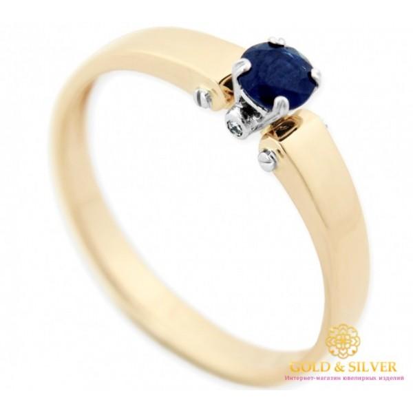 Золотое кольцо 585 проба. Кольцо женское с красного и белого золота с вставкой бриллиантом и сапфиром 15291 , Gold & Silver Gold & Silver, Украина