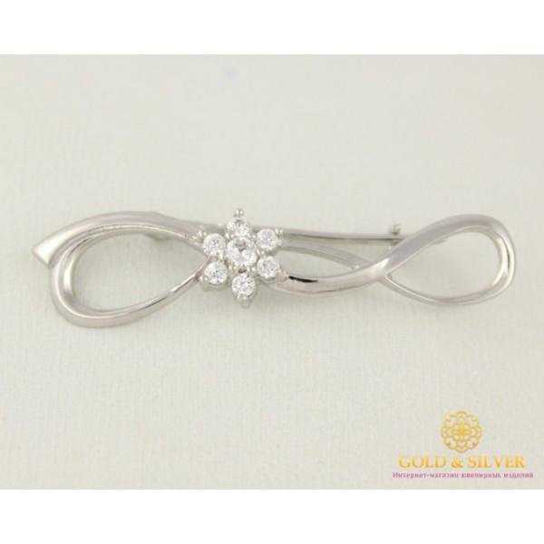 Серебряная Женская Брошка цветок камней с80010 , Gold & Silver Gold & Silver, Украина