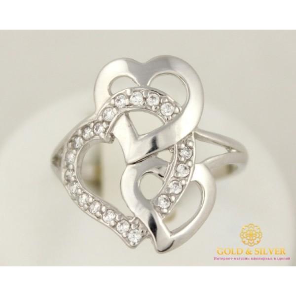 Серебряное кольцо 925 проба. Женское кольцо серебряные Сердечки 910195 , Gold &amp Silver Gold & Silver, Украина