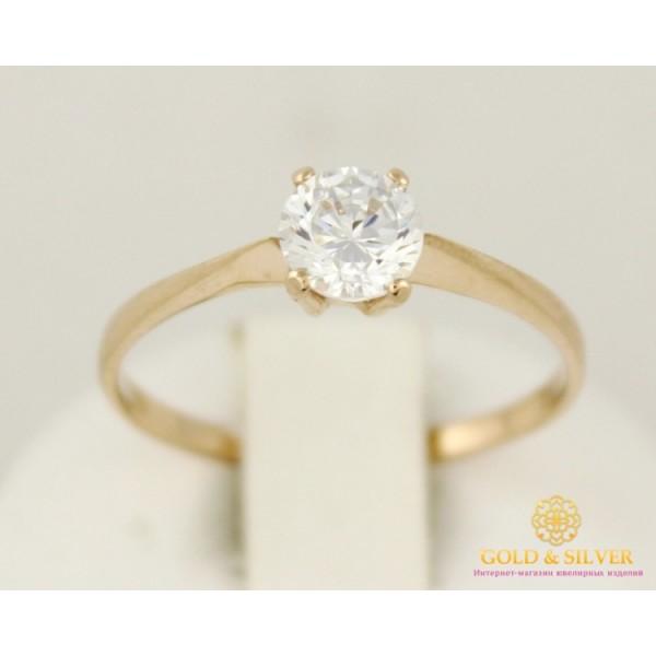Золотые кольцо 585 проба. Женское Кольцо один камушек с красного золота. 11071 , Gold &amp Silver Gold & Silver, Украина
