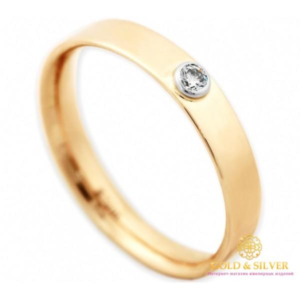 Золотое кольцо 585 проба. Обручальное кольцо классическое с красного золота с бриллиантом. 15970 , Gold & Silver Gold & Silver, Украина