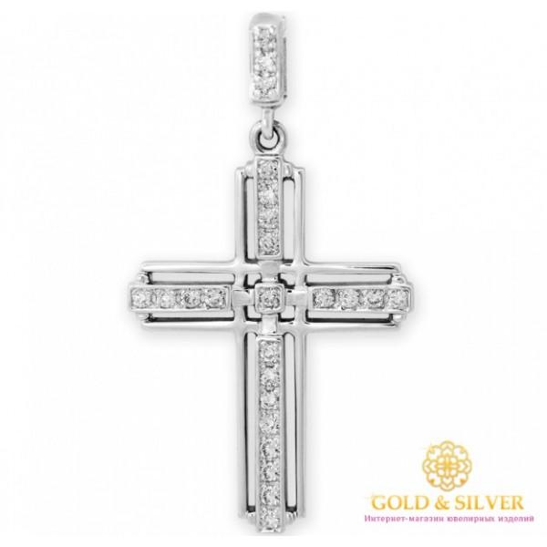 Золотой крест 585 проба. Крест с белого золота с бриллиантами 33889 , Gold &amp Silver Gold & Silver, Украина