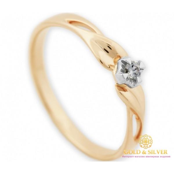 Золотое Кольцо 585 проба. Женское кольцо с красного золота с вставкой бриллианта. 16530 , Gold &amp Silver Gold & Silver, Украина