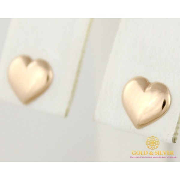 Золотые Серьги 585 проба. Женские серьги с красного золота, без вставок, пуссеты сердечки 580002 , Gold & Silver Gold & Silver, Украина